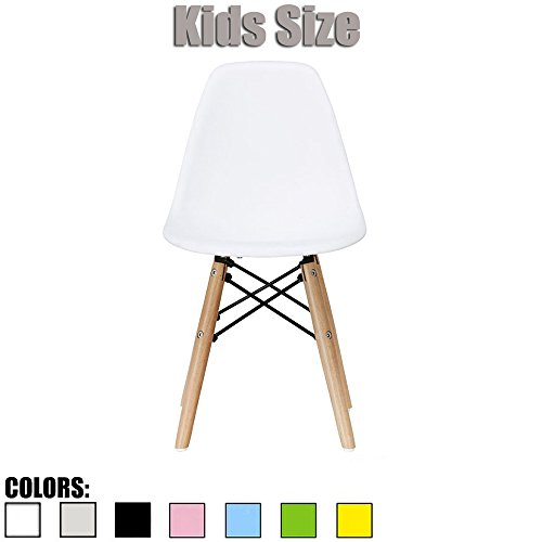 2xhome - White - Kids Size Side Chair White Seat Natural Wood Wooden Legs Eiffel Childrens Room Chairs No Arm Arms Armless Molded Plastic Seat Dowel Leg
