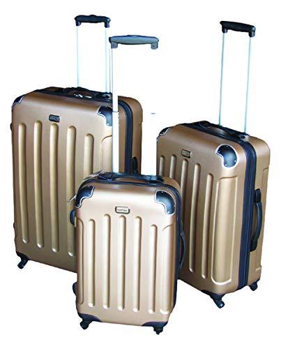 3-TLG Luxus Hartschalen Kofferset Reisekofferset Reiseset Trolley Trolly Reise Set Koffer inkl. Kofferwaage, Farben:Gold
