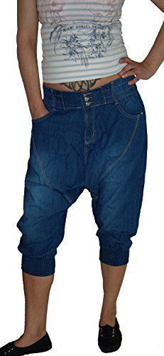 b.s Damen Capri Aladin Sarouel Jeans Hose, Blue Used S-874, Gr.38 (Hersteller M)