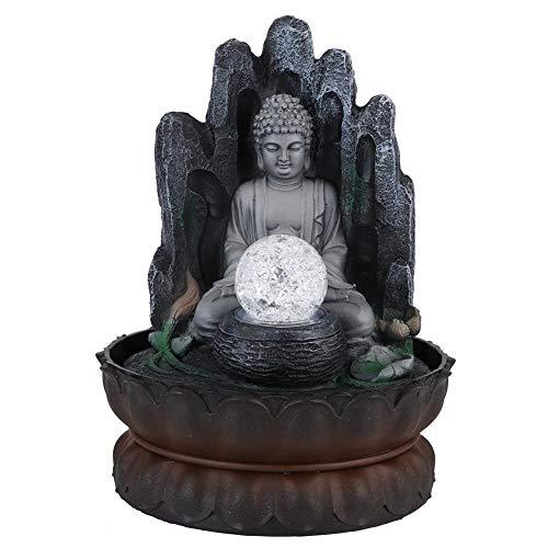 Fuente de Buda para Interior, Fuente de Agua de Mesa de Buda Sentado Zen, Fuente de Escritorio con Forma de Buda única, Adorno de Resina con luz LED para Mantener la Buena Suerte(Enchufe de la UE)