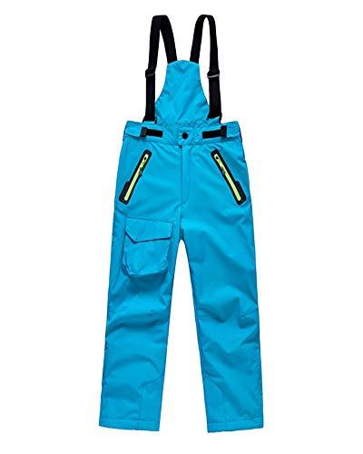 DianShaoA Pantalones De Esquí para Niños Pantalones De Babero Traje De Nieve Impermeable para Deportes Pantalón De Esquí Cremallera En El Tobillo Y Tirantes Desmontables Lago Azul L