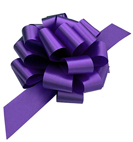 Large Purple Ribbon Pull Bows - 9' Wide, Set of 6, Healthcare Workers Support Ribbon, Mardi Gras, Bows for Gifts, Christmas, Gift Basket, Cancer Awareness, Fundraiser, Easter, Birthday, Fundraiser