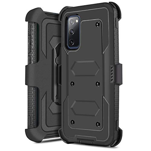 JACKPOT WIRELESS for Samsung Galaxy S20 FE 5G Case, Protection Full Body Rugged Holster Belt Clip Heavy Duty Case with Built in Screen Protector, Shockproof Protection Durable Cover (Black)