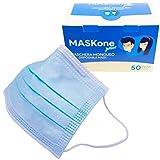 MaskOne Junior - Mascarillas quirúrgicas desechables - Empaquetado individualmente - Certificación CE Paquete de 50 piezas - Mascarilla quirúrgica para mujeres y caras pequeñas - Medicas homologadas