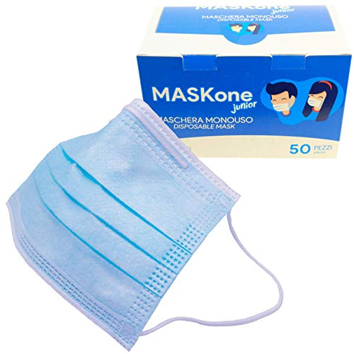 MaskOne Junior - Mascarillas quirúrgicas desechables - Empaquetado individualmente - Certificación CE Paquete de 50 piezas - Mascarilla quirúrgica para mujeres y niños - Medicas homologadas