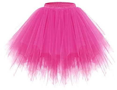 Meetjen Damen Tütü Karneval Frauen Kostüm Tüllrock Petticoat Reifrock Ballett Tutu Kleid Fuschia S