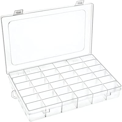 DUOFIRE Plastic Organizer Container Storage Box Adjustable Divider Removable Grid Compartment Big Clear Slot Box for Jewelry Beads Earring Container Tool Fishing Hook (36 Grids, White X 2 Pack)