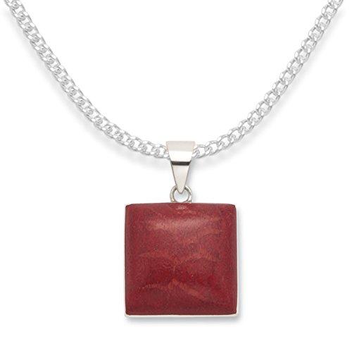 Halskette mit Anhänger Sterling-Silber 925 Koralle Rot 20 mm x 20 mm 8413COR/16. Silberfarbene Geschenkbox