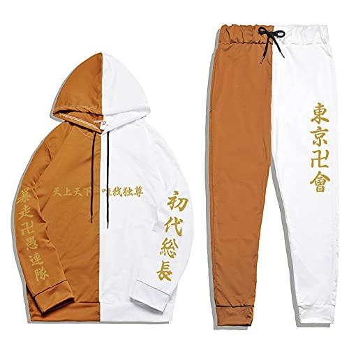 Tokyo Revengers Chándal Conjunto de 2 Piezas Manjiro Sano Hanagaki Takemichi Patchwork Sudadera con Capucha Pantalones de chándal Anime Ropa Deportiva Informal para Hombres Mujeres