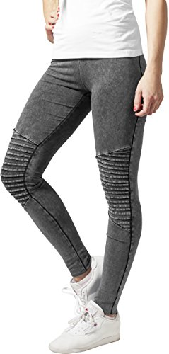 Urban Classics Damen Sport Legging Leggings Denim Jersey grau (Darkgrey) X-Large