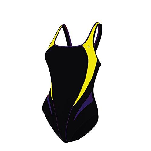 Aqua Sphere Bañador Mujer, Lita, Black/Bright Yellow, Talla del fabricante 36