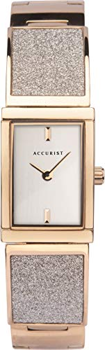 Accurist Womens Japanese Quartz Stainless Steel Semi-Bangle Watch Set With Crystal Dust, Jewellery Type Clasp, 30m Water Resistant, 2 year guarantee.