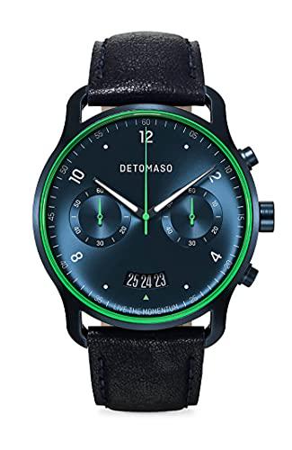 DETOMASO SORPASSO Limited Edition Velocita Blau Grün Herren-Armbanduhr Analog Quarz Lederarmband