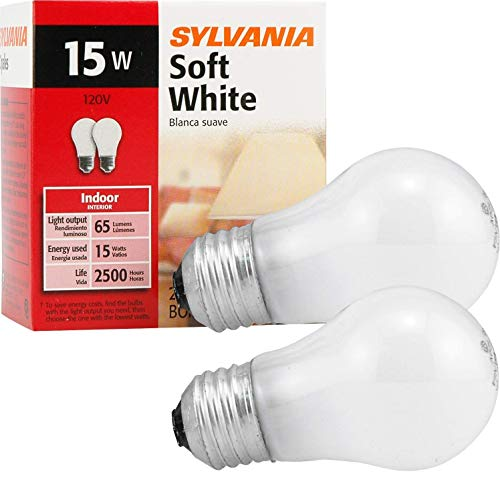 Sylvania Soft White Incandescent A15 Bulb, Medium Base | 15 Watts/120 Volts | 2-Bulbs Per Pack (6-Bulbs Total)
