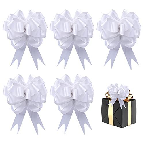 Hileyu 50 lazos de Navidad con lazo para regalo de Navidad, Año Nuevo, Acción de Gracias, fiesta de cumpleaños, boda, adorno (blanco)