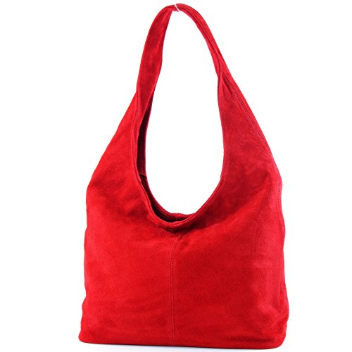 modamoda de - T150 - ital Schultertasche aus Leder Wildleder, Farbe:Rot