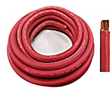 WNI 1/0 Gauge 10 Feet Red 1/0 AWG Ultra Flexible Welding Battery Copper Cable Wire - Made In The USA - Car, Inverter, RV, Solar