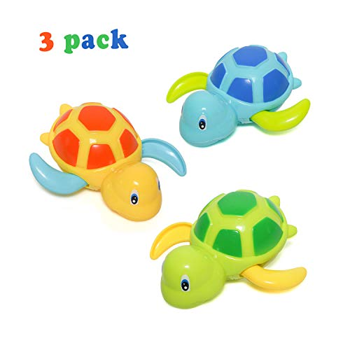 Baby Bath Toy, Swimming Turtle, Floating Wind-up Bathtub Pool Toys Cute Water Play Sets for Kids Boys Girls 3 Pcs