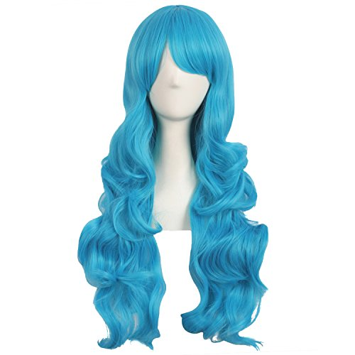 Mapofbeauty 28 Pulgadas/70cm Encantadoras Mujeres Lado Flequillo Largo Rizado Peluca Sintetica Pelo Lleno(Cereste Azul)