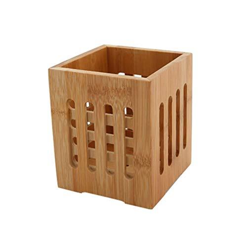 Hemoton Soporte para utensilios de cocina de madera de bambú, para guardar lápices, pinceles y utensilios de cocina