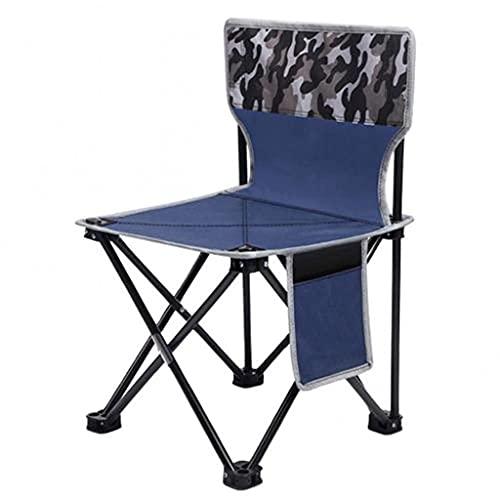 Taburete plegable al aire libre 600D tela Oxford portátil plegable camping picnic pesca silla con bolsa de almacenamiento muebles de exterior (color negro ZZ666 (color azul camuflaje)