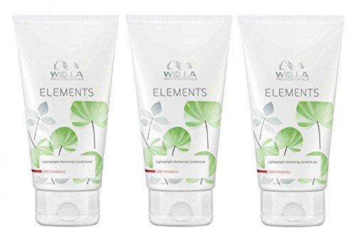Wella Elements Conditioner 3 x 200 ml Parabenfreie Pflege für trockenes-sprödes Haar Professionals Care