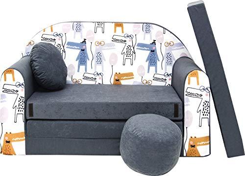 Pro Cosmo Kindersofa Bettfunktion 3in1 Sofa + Gratis Polsterhocker und Kissen Kindermöbel Set - AX3 Grau 168 x 98 x 59cm