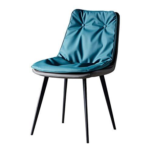 Sillas de Comedor Contador de Cocina Sillas para Diseño Salón Ocio Esquina salón de Oficina de Cuero PU sillas de la recepción con Respaldo y Asiento Acolchado Azul