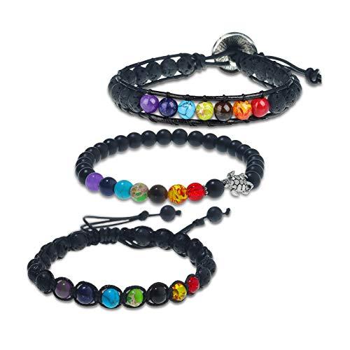 PLTGOOD 3 PCS 6mm Leather Bead Bracelet for Men Women 7 Chakras Lava Rock Stone Anxiety Bracelet Essential Oil Diffuser - Headling Yoga Meditation Boho Bracelets Bangle