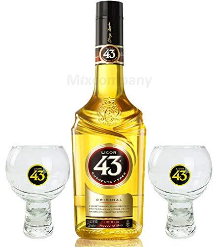 Licor 43 Set Geschenkset - Licor 43 0,7l (31% Vol) + 2x Gläser Glas- [Enthält Sulfite]