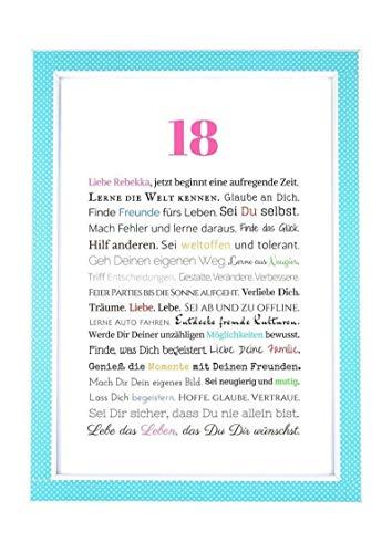 18. Geburtstag – Geschenkidee zur Volljährigkeit – Personalisiertes Bild mit Rahmen – Geburtstagsgeschenk für Mädchen/Frauen oder Beigabe zum Geldgeschenk, Kunstdruck, DIN A4 - 2