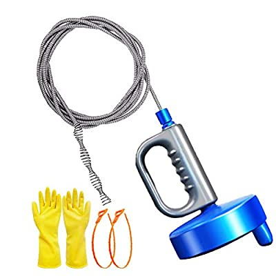 Thinvik 33Ft/10M Drain Snake Plumbing Drain Auger Sink Hair Clog Remover, Heavy Duty Pipe Clogged Cleaner For Bathtub, Drain, Kitchen Sink, Sewer with Gloves