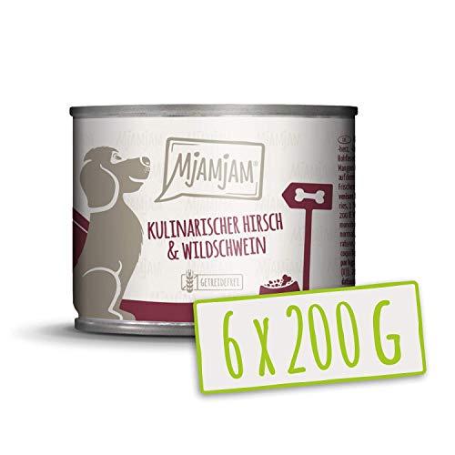 MjAMjAM - Premium Nassfutter für Hunde - kulinarischer Hirsch & Wildschwein an Preiselbeeren, 6er Pack (6 x 200 g), getreidefrei mit extra viel Fleisch