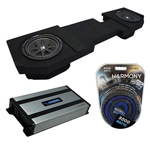 Compatible with 2002-2018 Dodge Ram Quad or Crew Kicker Bundle Comp C10 Dual 10' Sub Box Harmony HA-A800.1 Amp