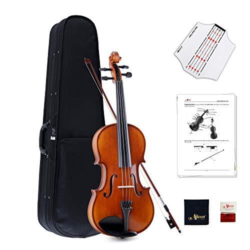 Aileen 4/4 Violine Geige für Schüler oder Erwachsene Anfänger Hochglanz Massivholz handgefertigt Volle Größe Violine Set