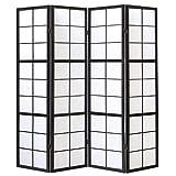 Homestyle4u 282, Paravent Raumteiler 4 teilig, Holz Schwarz, Reispapier Weiß, Höhe 175 cm