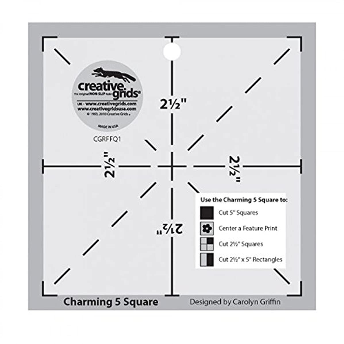 Creative Grids Charming 5 Inch Square Quilt Template: Template 1 -- the Charming 5 Square (CGRFFQ1)