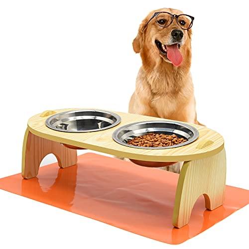 Ciotole Rialzate per Gatti e Cani Altezza Porta Ciotole Rialzato in Bambù con 2 Ciotole in Acciaio Inossidabile e Tappetini Sottociotola Scodelle Rialzate per Piccola Gatti Cani