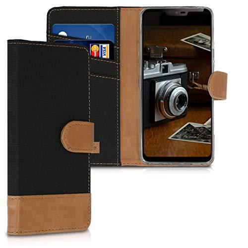 kwmobile Wallet Hülle kompatibel mit LG G7 ThinQ/Fit/One - Hülle Kunstleder mit Kartenfächern Stand in Schwarz Braun