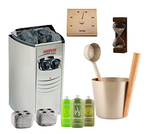 Sauna Poêle Électrique Harvia Vega Compact Kit: BC35; Rento Seau, louche et thermomètre en aluminium; Sablier 15min; Pierres à vapeur; Rento Sauna Arôme 400ml x3: Bouleau, Résine, Eucalyptus