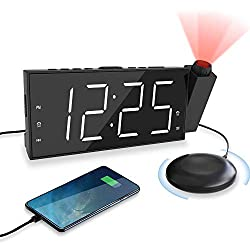 "OnLyee Projection Digital Alarm Clock for Bedrooms | Dual Loud Alarm Clock with Bed Shaker | 7"" Large Led Display with Dimmer 