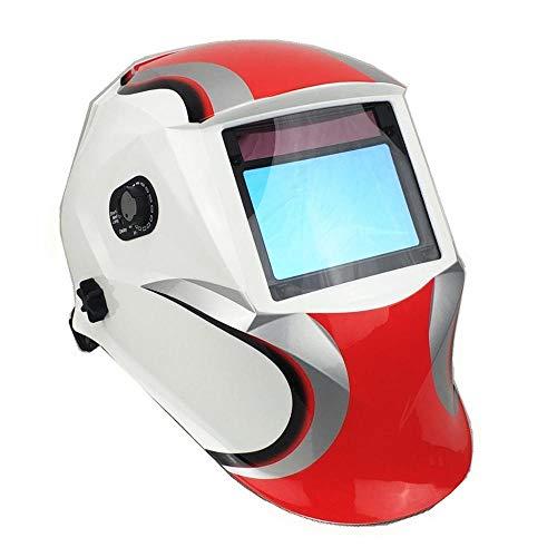 Casco de soldadura profesional, Máscara de soldadura Optical 1111 Ver Tamaño 3.95x2.56'(100x65mm) Shade DIN 3-13 4 Sensores Soldadura Casco Accesorios de soldadura (Color : Sun9BX WhiteRedRacer)