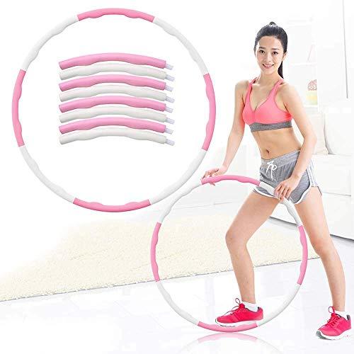 U/A Fitness Hula Hoop, Adult Hula Hoop, Kinder Hula Hoop, abnehmbare justierbare Breite, Profi Fitness Hula Hoop, Anfänger Hula Hoop, 8 Abschnitt DAGUAI (Color : Pink+White, Size : Diameter 95CM)