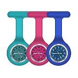 Nurse Watch,Nurse Fob Watch,Nursing Watch,Clip Watch,Lapel Watch,Nurse Fob Watch with Second Hand,Clip on Nursing Watch (Dark Blue Rose Navy)