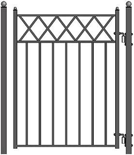ALEKO PGSTO Stockholm Style Ornamental Galvanized Steel Pedestrian Security Gate 5 x 4 Feet Black