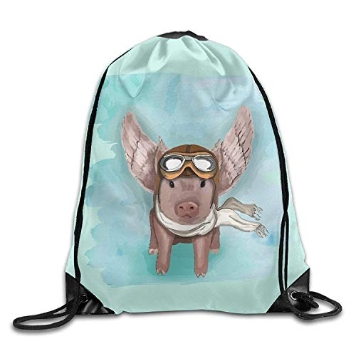 uykjuykj Tunnelzug Rucksäcke, Flying Pig with Sungalsses and Scarf Unisex Drawstring Backpack Travel Sports Bag Drawstring Beam Port Backpack. Lightweight Unique 17x14 IN