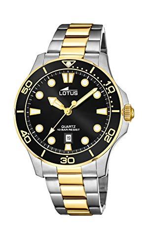 Lotus Herren Analog Quarz Uhr mit Edelstahl Armband 18760/2