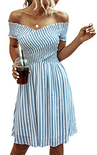 ECOWISH Womens Striped Dress Off The Shoulder Short Sleeve Backless Cocktail Skater Dresses Blue Small