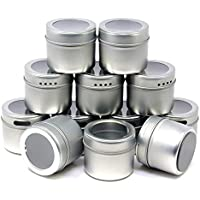 12-Count Magnetic Tins & Clear Labels Spice Storage Containers