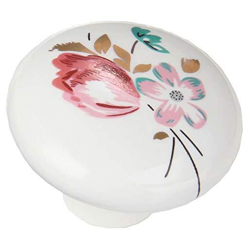 FBSHOP(tm) 2 pomelli in ceramica con decorazione di fiori/per mobili di cucina, armadi, guardaroba, comò, cassettiere, armadi, camera da letto e bagno etc., stile vintage, fai da te